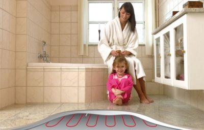 Теплый пол в ванной фото