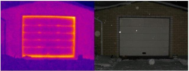 Как «убегает» тепло из гаражных ворот наглядно видно на термограмме