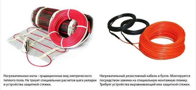 Два вида кабельных систем: нагревательные маты и кабель в бухте