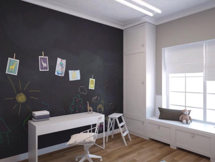 Грифельная краска решит проблему детских рисунков на стенах и сделает стильным интерьер